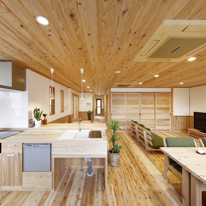 モデルハウス「空気がうまい家」 幻の漆喰・音響熟成木材仕様